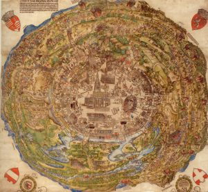 Circular map of Vienna, with St. Stephen's Cathedral at the centre.